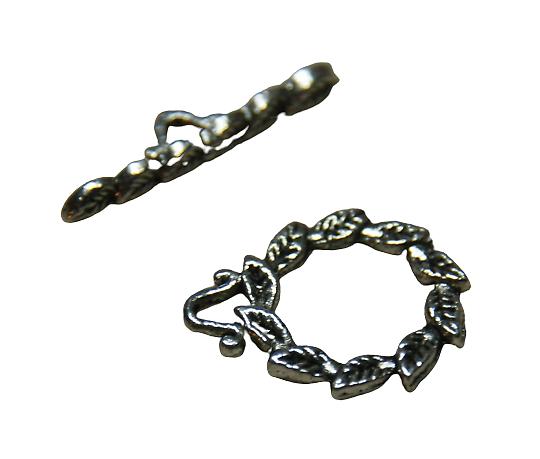 2 fermoirs toggle feuillage en métal argenté 19x15mm