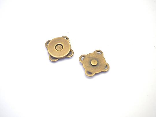 Fermoir magnétique à coudre ou à coller en métal couleur bronze 11mm