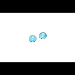 2 perles rondelles en céramique bleue 12x12mm
