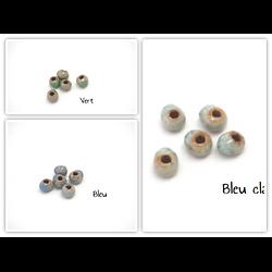 5 perles en céramique craquelée base gris clair 6mm