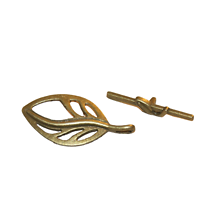 2 fermoirs toggle feuille en métal couleur bronze 37x18mm