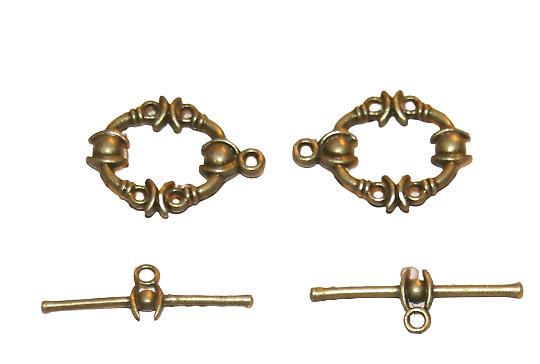2 fermoirs toggle en métal couleur bronze  21x17mm
