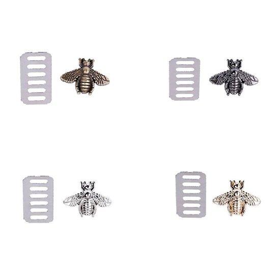 Fermoir textile abeille en métal 19x15mm