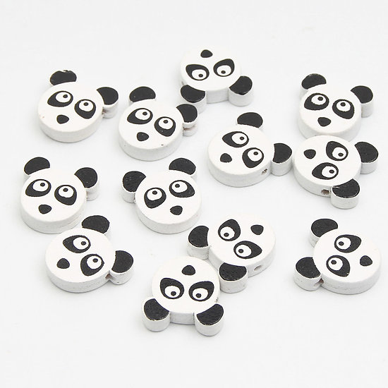 3 perles panda en bois noir / blanc 20mm