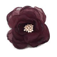 Fleur fine en tissu pour décoration ou customisation bordeaux