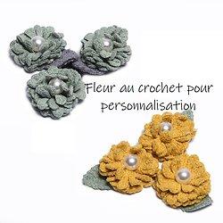 Fleur au crochet et son feuillage pour décoration ou customisation