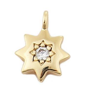 Petit pendentif étoile à 8 branches dorée et strass transparent brillant 8mm