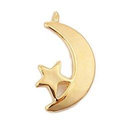 Pendentif lune et étoile en métal doré 13mm