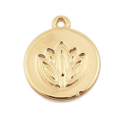 Pendentif médaille ronde lotus en métal doré 11mm