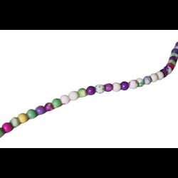 10 petites perles rondes d'agate multicolore 4mm