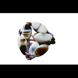 Grande perle d'agate ovale brun/beige de 7x22x40mm