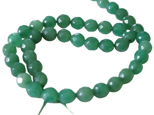 4 perles rondes à facettes en aventurine verte 8mm
