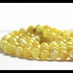 Perle d'agate jaune craquelée / veinée et à facettes 14mm