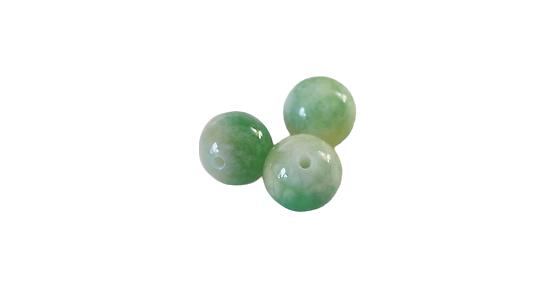 3 perles d'agate marbrée jaune, vert et blanc 10mm