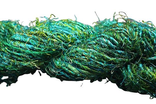 1m de soie de sari naturelle teintée vert-bleu-jaune