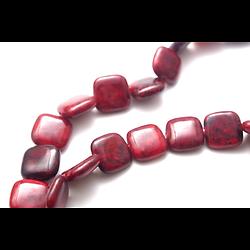 2 perles palet carré en pierre rouge de chrysocolle 14x14mm