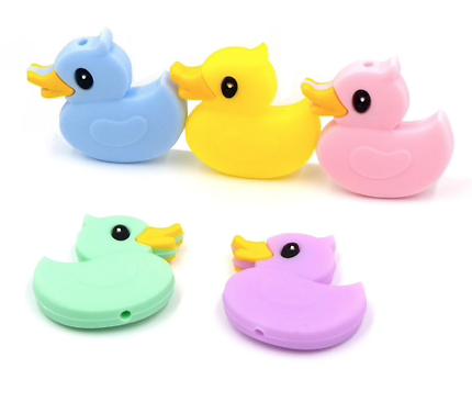 Perle canard en silicone alimentaire sans BPA 30x30mm
