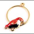 Connecteur anneau rond et son oiseau émaillé et métal doré 18mm