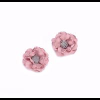 Applique fleur en tissu vieux rose et gris 40mm