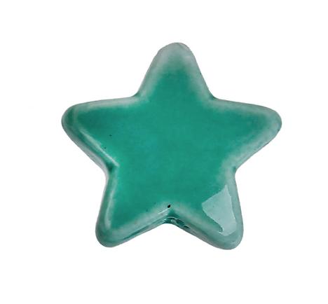 Perle étoile en céramique verte 15x14mm