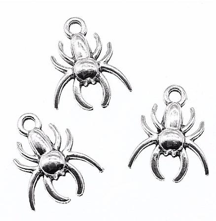2 mini breloques araignée en métal argenté 14x17mm