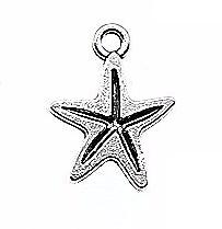 2 breloques étoile de mer en métal argenté 13x17mm
