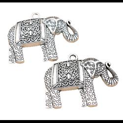 Grand pendentif tête d'éléphant en métal argenté 50x38mm