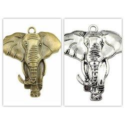 Très grande breloque / pendentif éléphant en métal 71x63mm