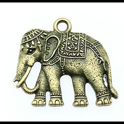 Grande breloque éléphant en métal couleur bronze 34x37mm