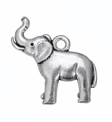 2 breloques éléphant en métal argenté 21x23mm