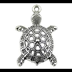 Breloque tortue en métal argenté PF ou GF