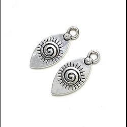 3 mini breloques pointe ethnique en métal argenté 9x21mm