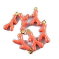 Breloque branche de corail en métal doré et émail 18x9x3mm