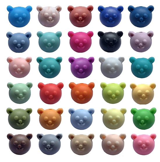 Perle tête d'ourson en silicone alimentaire sans BPA 17mm