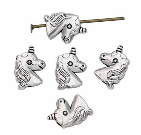 3 perles licorne en métal argenté 11x8mm