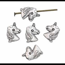 2 perles licorne en métal argenté 11x8mm
