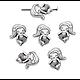 2 perles sirène en métal argenté 13x10mm