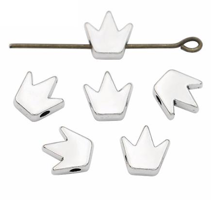 2 perles couronne en métal argenté 8x8mm