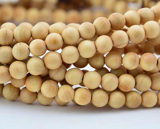 5 perles en bois de cyprès odorant 6mm - perle pour mala