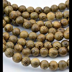 5 perles en bois de senna 8mm - perle pour mala