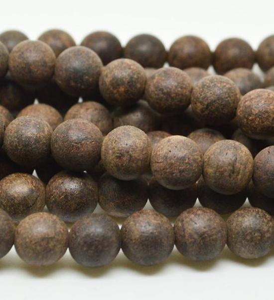 5 perles en bois d'aquilaria 8mm - perle pour mala