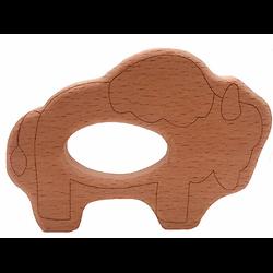 Anneau de dentition en bois naturel gravé sans traitement chimique - bison