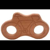 Anneau de dentition en bois naturel gravé sans traitement chimique - vélo