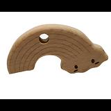 Anneau de dentition en bois naturel gravé sans traitement chimique - arc-en-ciel