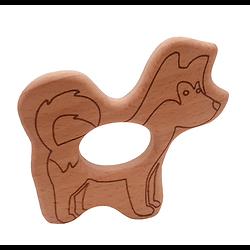 Anneau de dentition en bois naturel gravé sans traitement chimique - chien husky
