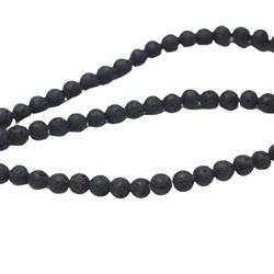 Perles rondes en pierre de lave noire