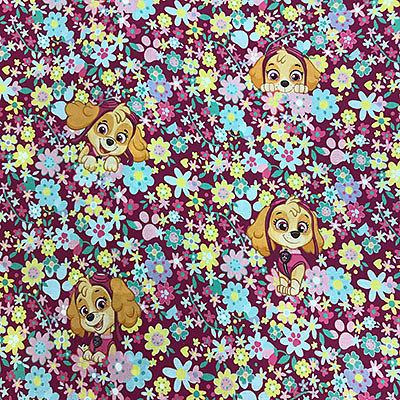 Drap de maternelle / serviette de cantine en coton  - imprimé Pat' Patrouille - Stella fond fleuri