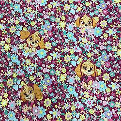 Drap de maternelle en coton  - imprimé Pat' Patrouille - Stella fond fleuri