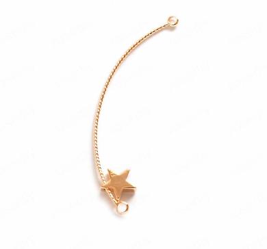 Breloque arc de cercle torsadé et son étoile en métal doré 53mm