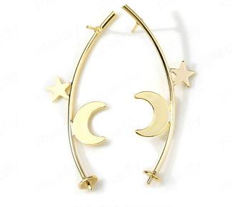 Clous d'oreille arc de cercle et étoile/lune en métal doré 18x54mm